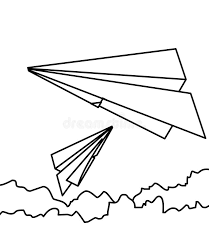 paper airplane coloring page paper plane coloring page stock illustration illustration of fold
