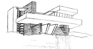 frank lloyd wright falling water analysis sketch coloring page