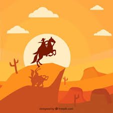 Monochromatic - monochromatic background of wild west with cowboy vector free