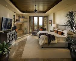 hunky bedroom with classy home decor of large bed face to the led