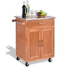 Kitchen Cart With Cabinet Wooden Kitchen Rolling Storage Cabinet With Stainless Steel Top