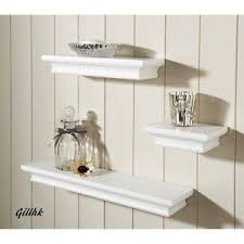 shabby chic set of 3 wall floating shelves available in white and