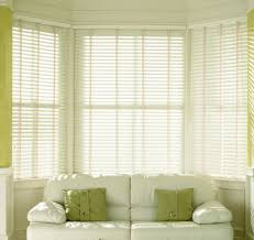 white faux wood blinds with cloth tape business for curtains