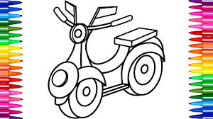 how to draw scooter motorcycle coloring pages for kids art