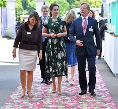 kate middleton in a sold out rochas dress at the chelsea flower