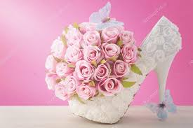 theme wedding bouquets pink and white theme wedding bouquet concept stock photo