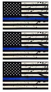 American Flag Zippo 3 Pack Of Tattered Blue Line Flag Thin Blue Line Decals Black