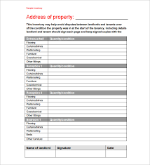 Excel Rental Template Sle Rental Inventory Template 7 Free Excel Pdf Documents
