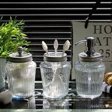 Clear Bathroom Accessories by Vintage Kilner Jar Bathroom Accessory Set In Clear Glass With