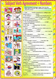 subject verb agreement with numbers with b w and answer key