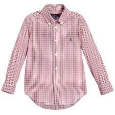 ralph lauren boys red u0026 blue check u0027blake u0027 shirt childrensalon