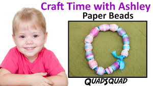 easy paper bead bracelet for kids craft time with ashley youtube