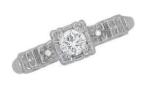 engagement ring design fishtail platinum diamond vintage engagement ring design 1930s