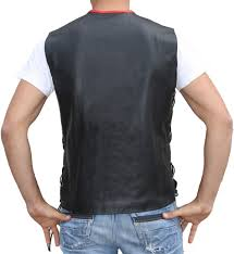 leather biker vest motorcycle vest leathervest bikervest black red