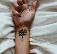 lotus on the right inner wrist tattoos