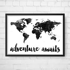 World Map Art Print by Adventure Awaits Map Travel Quote World Map Watercolor Map