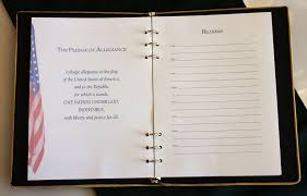 funeral sign in book memorial guest book with fabric cover emblem and ribbon