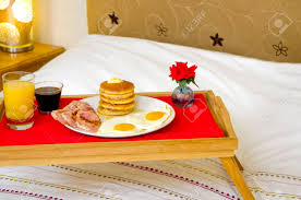 Breakfast In Bed Table by Pancake Breakfast Served In Bed Stock Photo Picture And Royalty