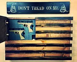 wooden american flag wall we will defend black and wood american home defense concealment