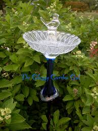 Recycled Garden Decor Glass Bird Bath Glass Garden Art Yard Art Repurposed Recycled
