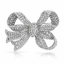 bling ribbon antique style ribbon bridal brooch bow pin