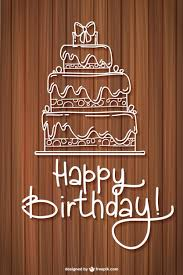 happy birthday card with a sketched cake vector free download