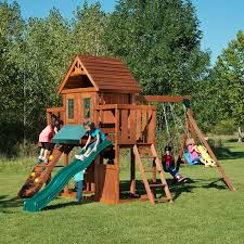 amazon com winchester wood complete play set with two swings