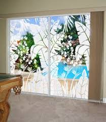 Glass Door Etching Designs by Tropical Oasis Etched Glass Palm Tree Design Fabulous On Sliding