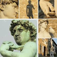 collage with famous renaissance sculpture of david by michelangelo