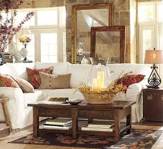 living room beach style sofa table with storage baskets