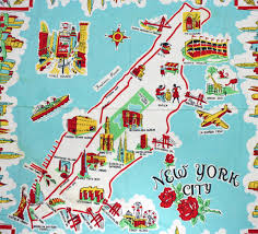 New York Maps by Large Illustrated Tourist Map Of New York City Vidiani Com