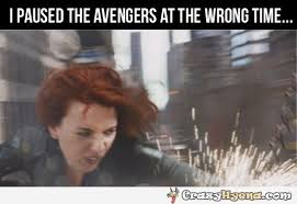 Scarlett Johansson Memes - paused the avengers at the wrong time