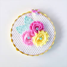 Shabby Flowers Ooak Hoop Art Shabby Flowers Pink Yellow U0027s Room Wall