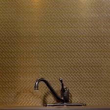 Aspect Mini HerringboneBronzeMatted Backsplash - Bronze backsplash tiles