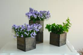 wood box woodland planter flower box rustic pot square vases