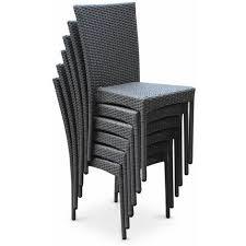 salon de jardin en résine tressée 6 chaises gris table d extérieur