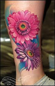 colored tattoos for color flower tattoos