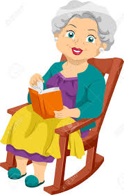 porch clipart illustration featuring an elderly woman sitting on a rocking