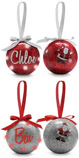personalised tree ornaments baubles your name in lights bauble