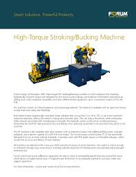 high torque stroking bucking unit forum energy technologies