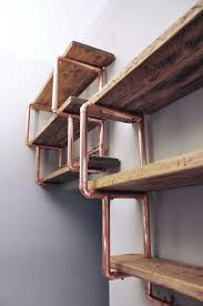 copper pipe reclaimed wood shelving best of wood pinterest