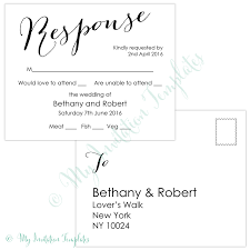Wedding Invitations With Free Rsvp Cards Wedding Rsvp Postcard Template U2013 Modern Calligraphy