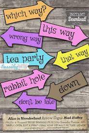 Mad Hatter Decorations Alice In Wonderland Arrow Signs Instant Download Mad Hatter