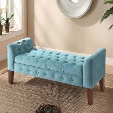 velvet tufted storage bench and settee homepop