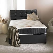 4ft small double faux leather divan bed memory mattress