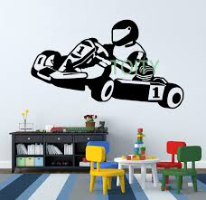 go kart karting racing mur chambre décor vinyl decal sport