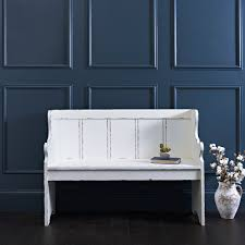 Furniture Elegant Gray Wall Panel With White Entry Way Bench On
