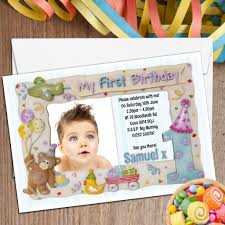 1st Birthday Invitation Card For Baby Boy 10 Personalised First 1st Birthday Party Frame Photo Invitations N2