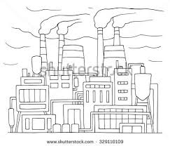industrial cartoon sketch nuclear power station stock vector