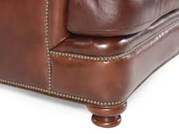 Henredon Leather Sofa Nailhead Accented Leather Sofa In Saddle Brown Mathis Brothers